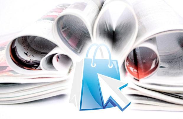 Abbildung mit Heften und Online-Shop Symbol